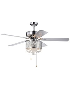 "Silver 52"" 3-Light Indoor Hand Pull Chain Ceiling Fan with Light Kit"