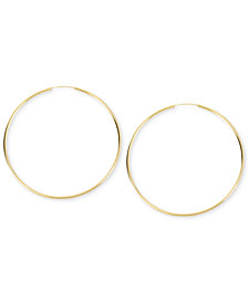 Kenneth Cole New York Earrings, Gold-Tone Shiny Large Hoop Earrings