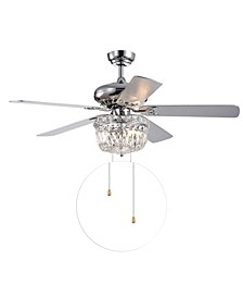 "Galileo 52"" 3-Light Indoor Hand Pull Chain Ceiling Fan with Light Kit"