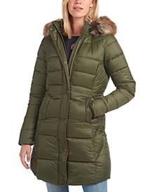 Jamison Faux-Fur-Trim Hooded Puffer Coat