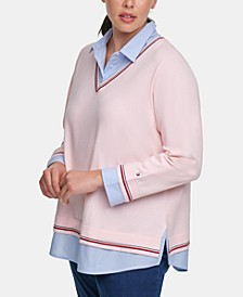 Plus Size Layered-Look Collared Sweater