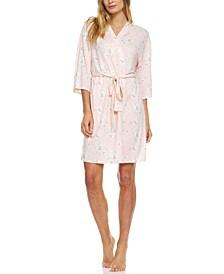 Justine Floral-Print Knit Wrap Robe