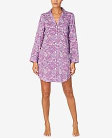 로렌 랄프로렌 슬립 셔츠 Lauren Ralph Lauren Paisley-Print Sleep Shirt Nightgown,Purple Print
