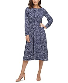 Petite Ruched-Waist Midi Fit & Flare Dress