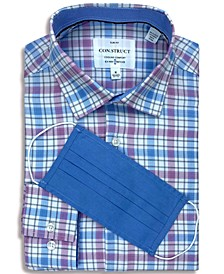 Receive a FREE Face Mask with purchase of the Con.Struct Men's Slim-Fit Non-Iron Performance Stretch Plaid Cooling Comfort Dress Shirt
