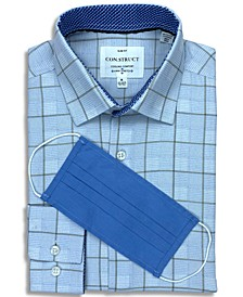 Receive a FREE Face Mask with purchase of the Con.Struct Men's Slim-Fit Non-Iron Performance Stretch Blue Box Check Cooling Comfort Dress Shirt