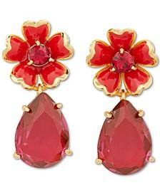 Gold-Tone Stone Flower Drop Earrings