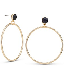 Gold-Tone Black Stud Drop Hoop Earrings