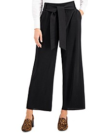 Petite Tie-Waist Wide-Leg Pants, Created for Macy's