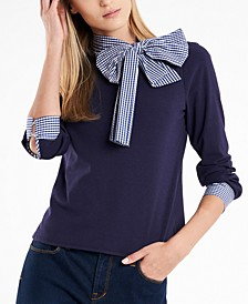 Juliette Bow-Neck Gingham-Trim Top, Created For Macy's
