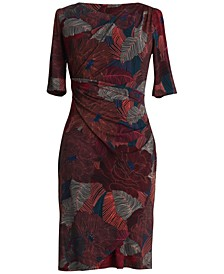 Printed 3/4-Sleeve Sheath Dress