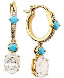 18k Gold-Plated Cubic Zirconia & Stone Charm Hoop Earrings, Created for Macy's