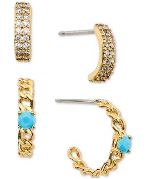 18k Gold-Plated 2-Pc. Set Cubic Zirconia & Stone Open Hoop Earrings
