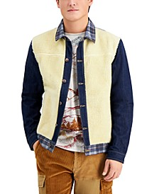 Men's Clarence Mixed-Media Colorblocked Trucker Jacket, Created for Macy's