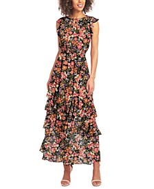 Printed-Chiffon Maxi Dress