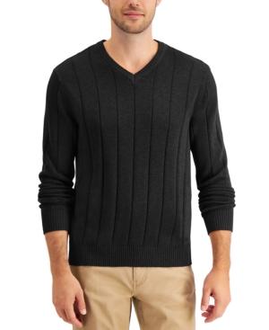 Men's Drop-Needle V-Neck Cotton Sweater