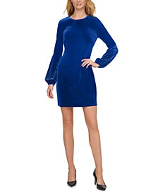 Velvet Embellished Balloon-Sleeve Sheath Dress