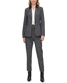 Petite Check-Print Blazer & Belted Pants