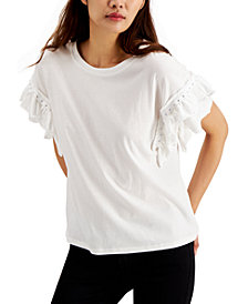 I.N.C. Cotton Stud-Detail Ruffle-Sleeve Top, Created for Macy's