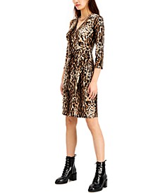 INC Animal-Print Faux-Wrap Dress, Created for Macy's