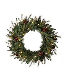 Pre-Lit Greenery Pine Cone Christmas Wreath with Warm LED Light