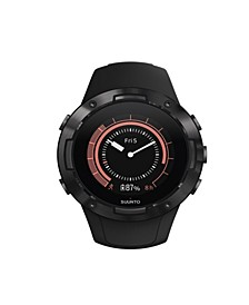 5 Men's All Black Silicon Strap Compact GPS Sports Watch, 46mm