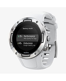 5 Men's White Silicon Strap Compact GPS Sports Watch, 46mm