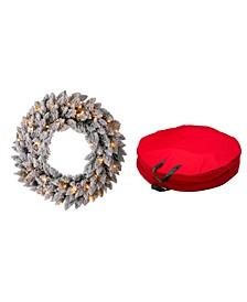 Pre-Lit Snow Flocked Christmas Wreath with Storage Bag