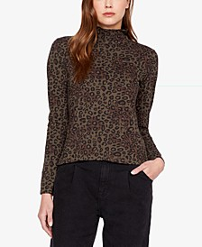 On A Roll Animal-Print Turtleneck Top