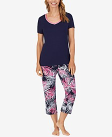 Solid T-Shirt & Printed Capri Pants Pajama Set
