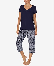 Women's 2-Pc. T-Shirt & Capris Pajama Set