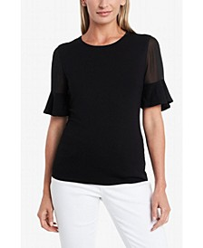 Women's Flutter Sleeve Mix Media Top with Chiffon Inset