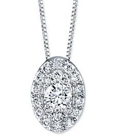 "Diamond Oval Halo 18"" Pendant Necklace (1/4 ct. t.w.) in 14k White Gold"