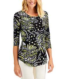 JM Collection Plus Size Abstract-Print Top, Created for Macy's