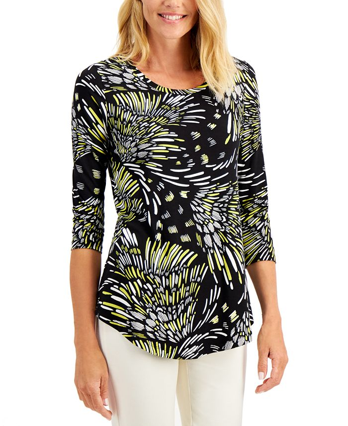 JM Collection - Plus Size Abstract-Print Top