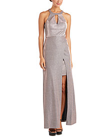 Morgan & Company Juniors' Halter-Neck Gown