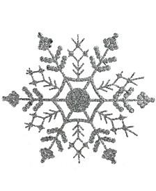Silver Tone Splendor Glitter Snowflake Christmas Ornaments