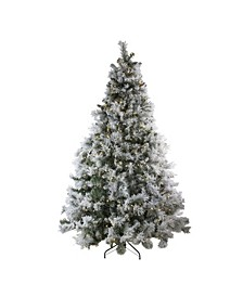 Pre-Lit LED Lights Flocked Victoria Pine Artificial Christmas Tree