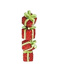 Lighted Candy Stacked Gift Boxes Tower Outdoor Christmas Decoration