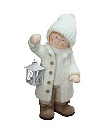 Winter Boy Holding A Tealight Lantern Christmas Table Top Figure