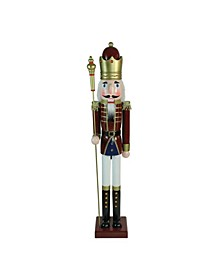 Wooden Christmas Nutcracker King with Scepter