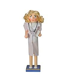 Wooden Nurse Christmas Nutcracker with Stethoscope