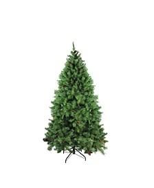 Unlit Medium Dakota Pine Artificial Christmas Tree with Pine Cones