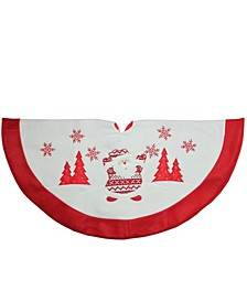 Knit Santa Claus Embroidered Christmas Tree Skirt