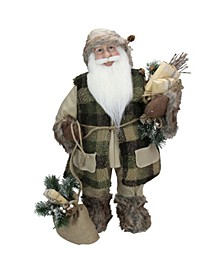 Standing Santa Claus in Plaid Suit with Gifts Christmas Figurine