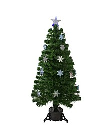 Pre-Lit Colour Changing Fibre Optic Artificial Christmas Tree with Snowflakes