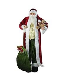 Standing Plush Christmas Santa Claus Figure with Teddy Bear and Gi Bag