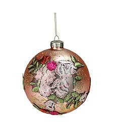 Floral Applique Glass Christmas Ball Ornament