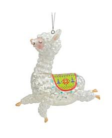 Glitter Regal Jumping Llama Glass Christmas Ornament