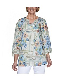 Women's Plus Size Windowpane Floral Top
